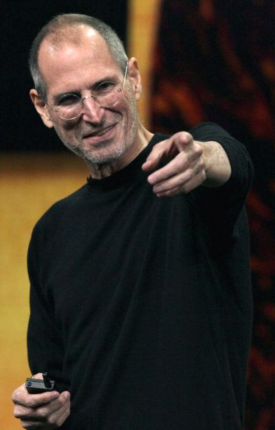 Steve Jobs speaking during an Apple Special Music Event at the Yerba Buena Center for the Arts in San Francisco.