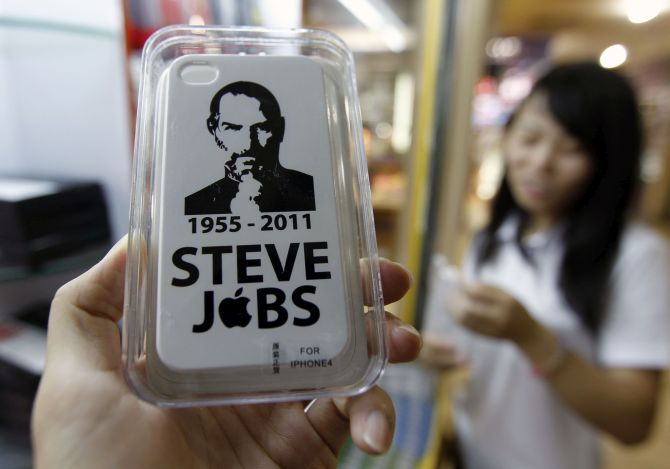 iPhone 4 hard case cover with portrait of Steve Jobs.