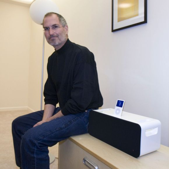 Steve Jobs next to the new iPod Hi-Fi speaker system designed for the iPod.