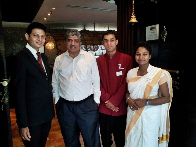 Nandan Nilekani at Burman's restaurant, Zambar