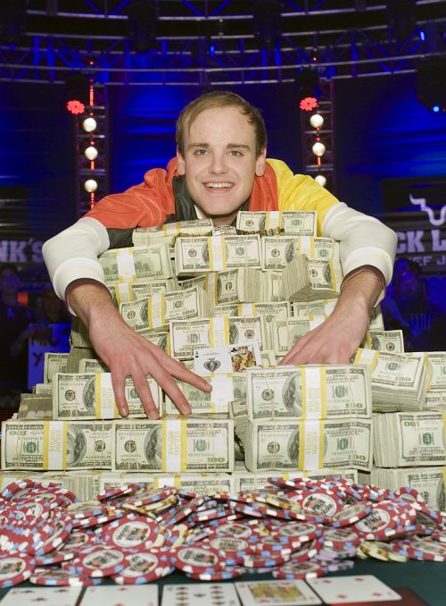 Pius Heinz of Germany poses after beating Martin Staszko of the Czech Republic to win the championship bracelet and $8.7 million in prize money during the World Series of Poker.
