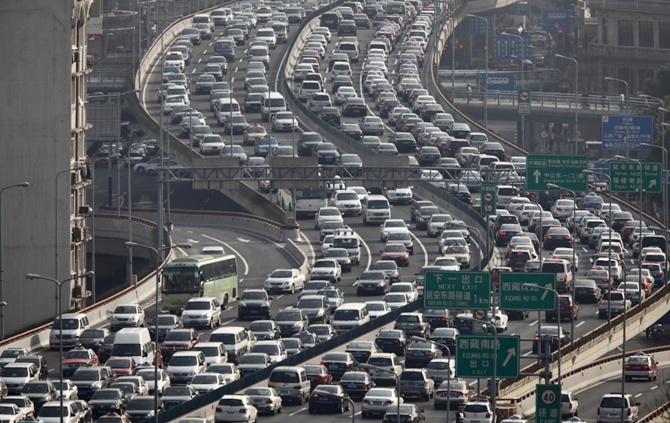 A view of heavy traffic on a highway during the morning rush hours in Shanghai.