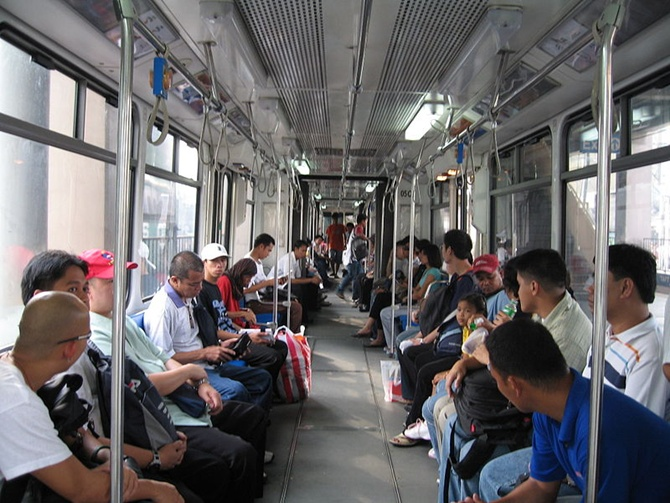 Inside an MRT-3 train