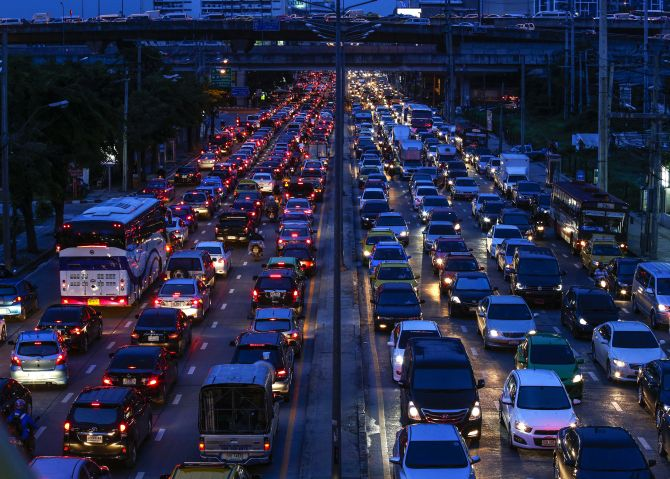 Cars are seen stuck in a traffic jam at Rama 9 road in Bangkok.