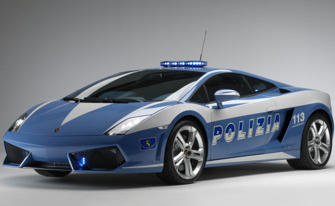A Lamborghini Gallardo LP560-4 Polizia chase car is shown before its donation to the Italian state police by the automaker.