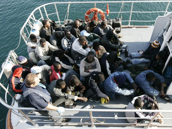 These twenty-seven would-be immigrants, who said they were from Darfur, were intercepted aboard a makeshift boat.