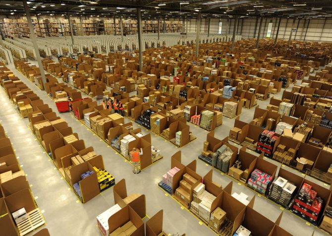 Work is carried out at Amazon's fulfilment centre.