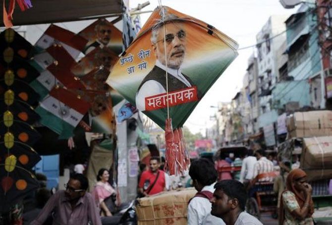 Kites carrying pictures of Prime Minister Narendra Modi. Photograph: Anindito Mukherjee/Reuters