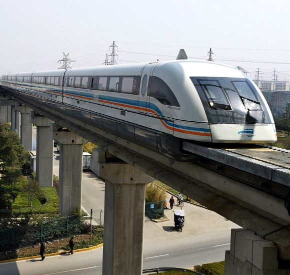 A maglev train drives into a terminal station in Shanghai