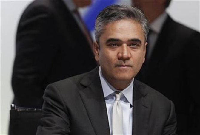 Anshu Jain attends the annual shareholders meeting in Frankfurt.