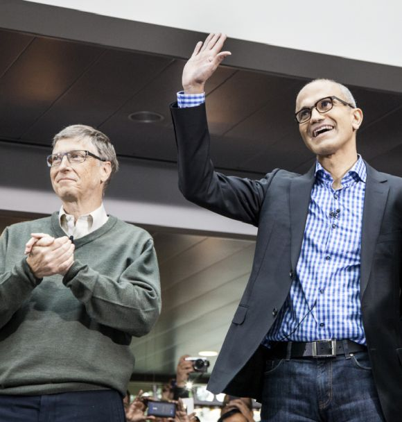 Microsoft Founder Bill Gates and the new CEO Satya Nadella.