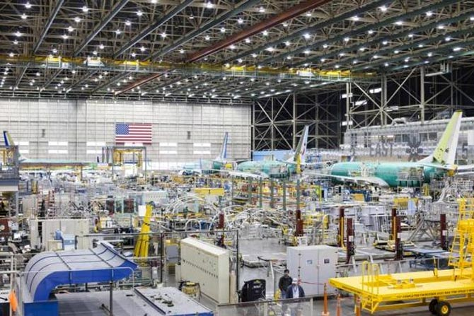 The interior of the Boeing 737 assembly plant is pictured in Renton.