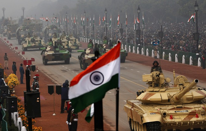 Indian Army's Arjun MK-I tanks are driven for display during the Republic Day parade in New Delhi January 26, 2014.