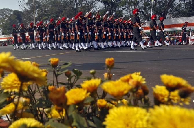 Indian soldiers march during the Republic Day parade in Kolkata.
