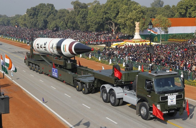 Surface-to-surface Agni V missile is displayed during the Republic Day parade in New Delhi.