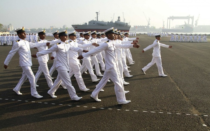 Indian Navy sailors march as they take part in ceremonial parade during Republic Day celebrations at the southern Naval Command in Kochi.