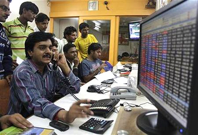 Traders at the Bombay Stock Exchange.