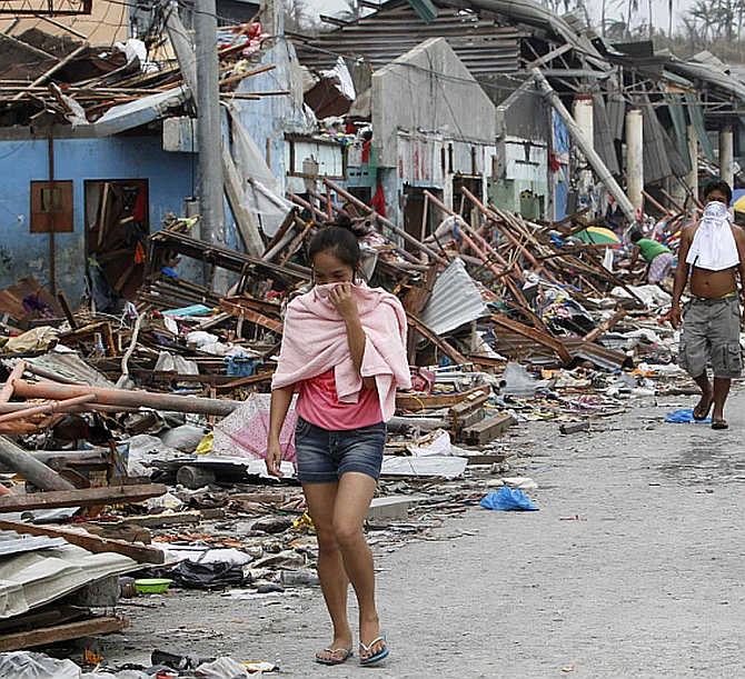 Houses near the sea devastated by Super Typhoon Haiyan are seen in Tacloban city, central Philippines