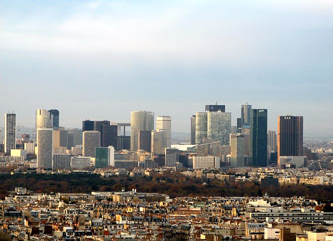 Skyscrapers of La Défense seen from the Eiffel Tower.
