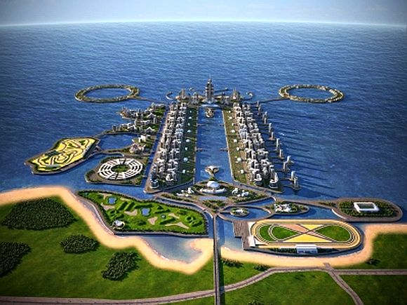 This image is a rendering of the Khazar Islands, an artificial archipelago under construction in Azerbaijan.