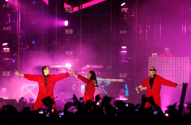 American hip hop quartet group Far East Movement performs during the MTV World Stage Live in Malaysia.