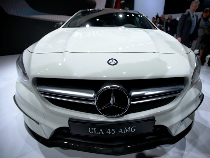 The Mercedes-Benz CLA 45 AMG is seen on stage following a news conference at the New York Auto Show in New York, March 27, 2013.