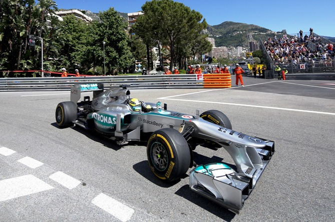 Mercedes AMG Petronas Formula One driver Nico Rosberg of Germany drives during the first practice session of the Monaco F1 Grand Prix May 23, 2013.