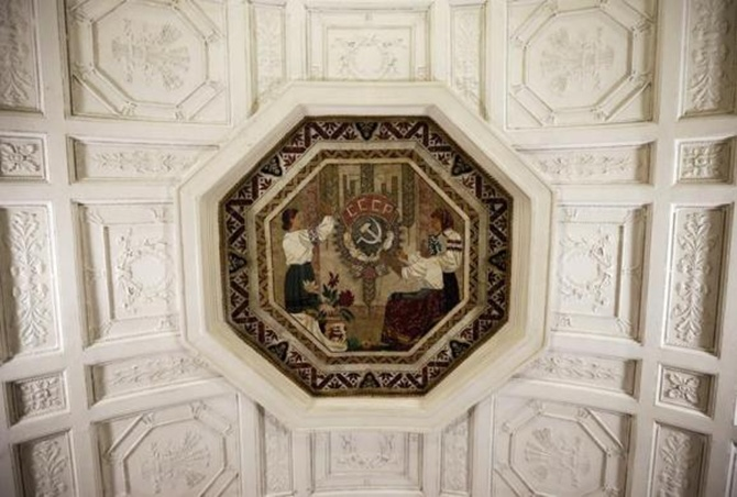 A ceiling panel is seen in Belorusskaya metro station, which was built in 1952, in Moscow