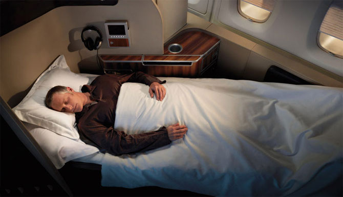 Flat bed on board Qantas A380.