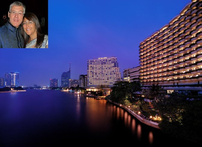 Chao Phraya river-facing Shangri-La hotel in Bangkok. Karl Slym and his wife (in the inset).