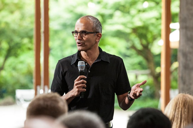 Satya Nadella, executive vice president, Cloud and Enterprise, addresses employees during the One Microsoft Town Hall event