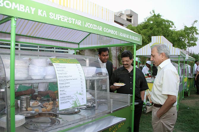 The Director General of Police, Rajasthan, Mr. Omendra Bhardwaj taking a look at one of the carts of Poochka & Co. in Jaipur. He inaugurated the street food venture.
