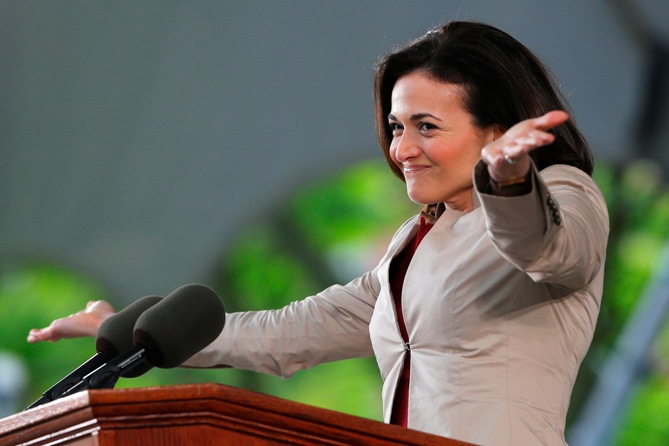Facebook's COO Sheryl Sandberg delivers the Class Day address at Harvard University in Cambridge, Massachusetts May 28, 2014.