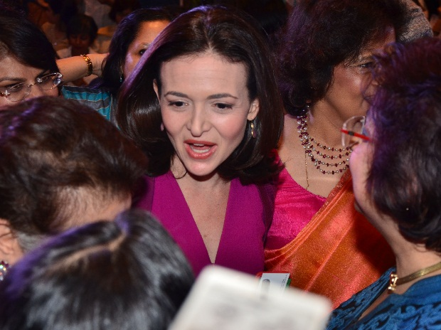 Facebook CEO Sheryl Sandberg speaks about her book Lean In : Women, Work and the Will to Lead at an event organised by FICCI Ladies Organisation in New Delhi on Wednesday.