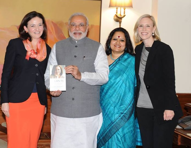 Sheryl Sandberg, Ankhi Das, Facebook's Global Public Policy Vice President Marne Levine with PM Narendra Modi.