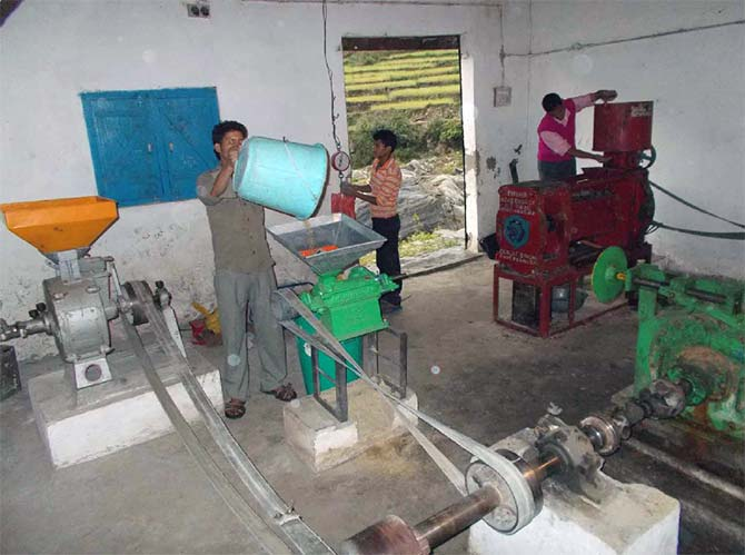 In the mechanical power section, the villagers operate and use another turbine for milling, grinding and oil expelling unit