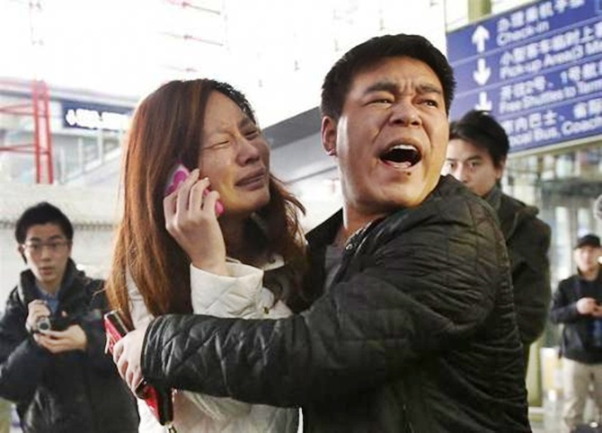 Relatives of the Malaysia Airlines flight which disappeared en route to Beijing.