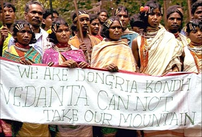 Tribals protest against Vedanta.