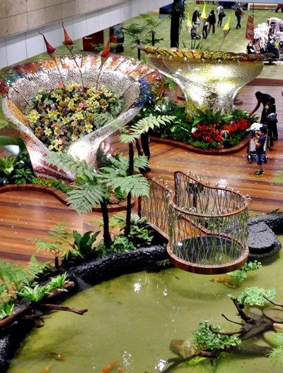Garden inside the airport has more than 1,000 plants of 50 different species and holds a 22,000-litre pond.