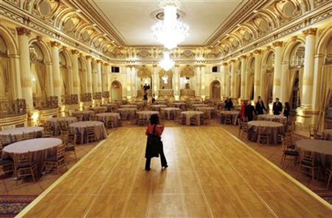 The dance floor in the Grand Ballroom of The Plaza hotel in New York.