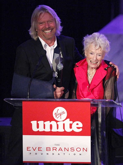 Richard Branson embraces his mother Eve Branson during a trip to the foothills of Morocco's Atlas Mountains.