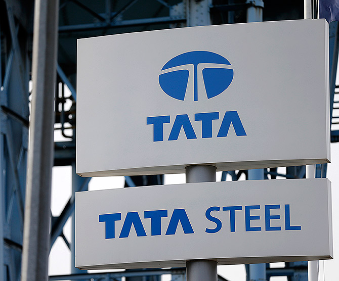 The Tata Steel logo is seen at the Tata Steel rails factory in Hayange, Eastern France.