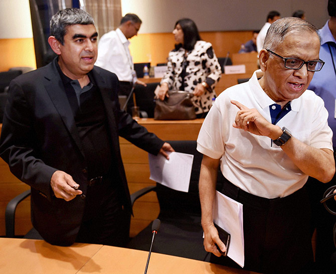Infosys Executive Chairman N R Narayana Murthy with newly appointed CEO & MD Vishal Sikka at a press conference at Infosys headquarters in Bengaluru.