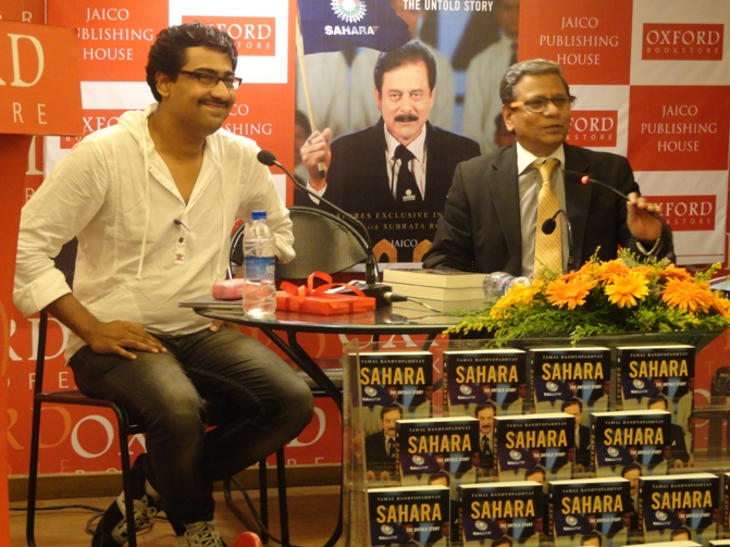 Thespian Kaushik Sen (left) and Tamal Bandyopadhyay at the launch of the book at Kolkata's Oxford Bookstore.