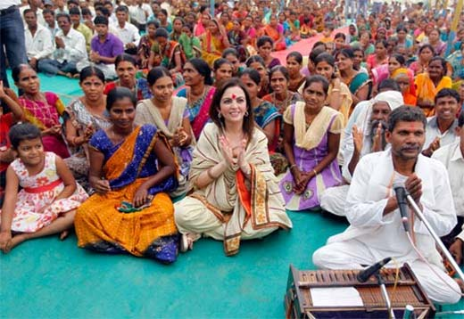 Nita Ambani, at the 'Reliance Bij - Bharat India Jodo' campaign at Salarpur village, south of Ahmedabad.