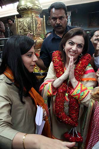 Nita Ambani offers puja at Hyderabad temple.