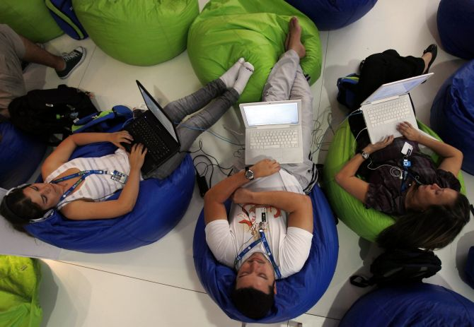 People surf the web during a 'Campus Party'.