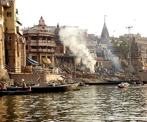 The Manikarnika ghat in Varanasi