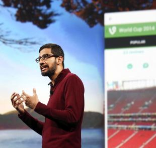 Sundar Pichai, Google's senior vice president of Android, Chrome and Apps, speaks during his keynote speech at the Google I/O developers conference in San Francisco.