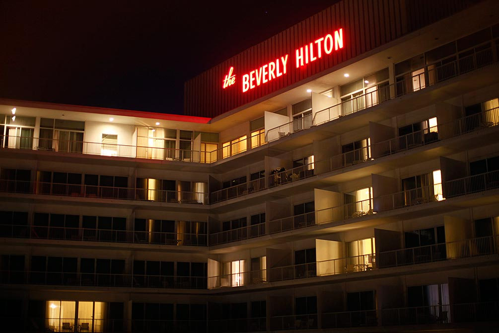 The Beverly Hilton Hotel is seen from one of the adjacent rooms in Los Angeles.